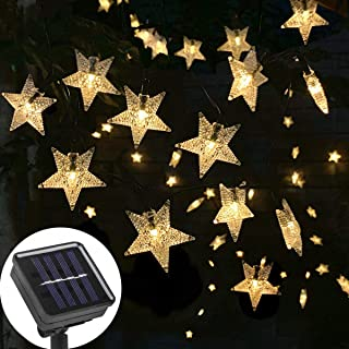 Ousome Solar Twinkle Star String Lights, 40ft 100 LED 8 Modes Solar Powered Outdoor Waterproof Starry Fairy Lights for Garden, Lawn, Patio, Backyard, Christmas Tree (Warm White)