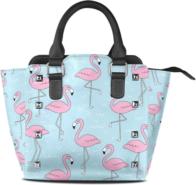 My Little Nest Women's Top Handle Satchel Handbag Doodle Flamingo Ladies PU Leather Shoulder Bag Crossbody Bag