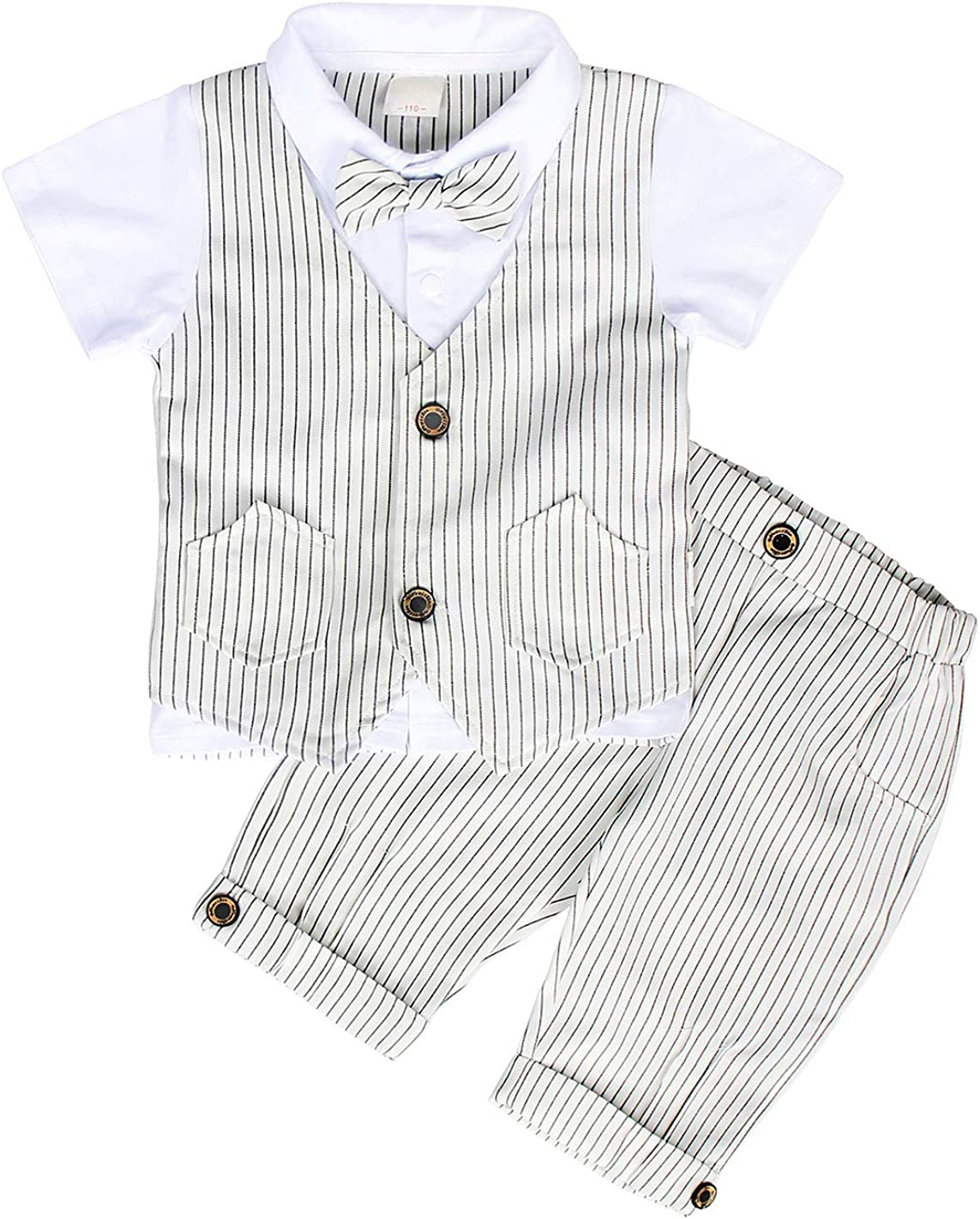 MetCuento Baby Boy Gentleman Outfit Short Sleeve Suit Classic Tuxedo Bow Tie Wedding Party Formal Dress Suit