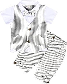 AmzBarley Gentleman Abiti Bambini Formale Camicia Pantaloni Giubbotto Cravatta Set di Vestiti Bimbo Ragazzi per Festa Comp...