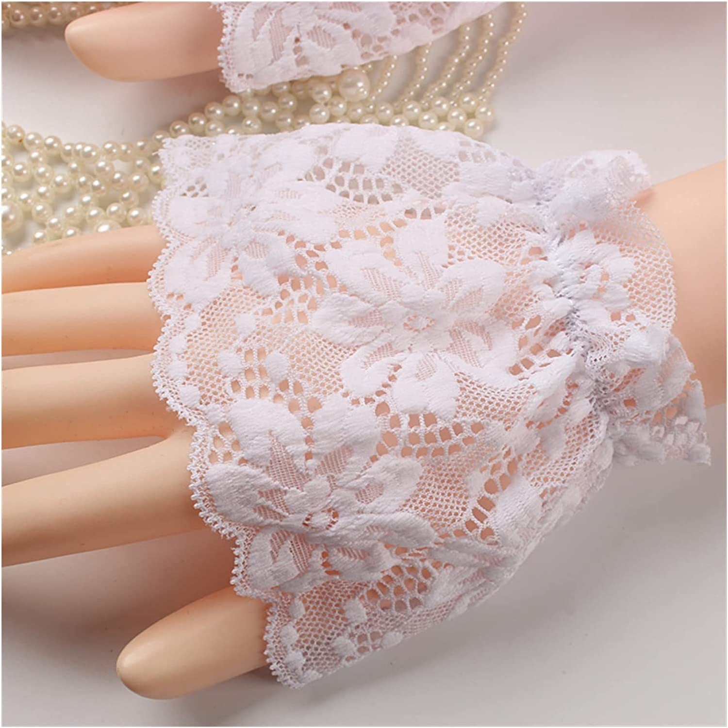 GUYANMAY Lace Gloves Mid-Length Gloves Cotton Arm Cuffs Lace Arm Covers Fashion Solid Black White Fake Sleeves Ladies Knitted Arm Sleeve Fake Cuffs (Color : White 9cm)