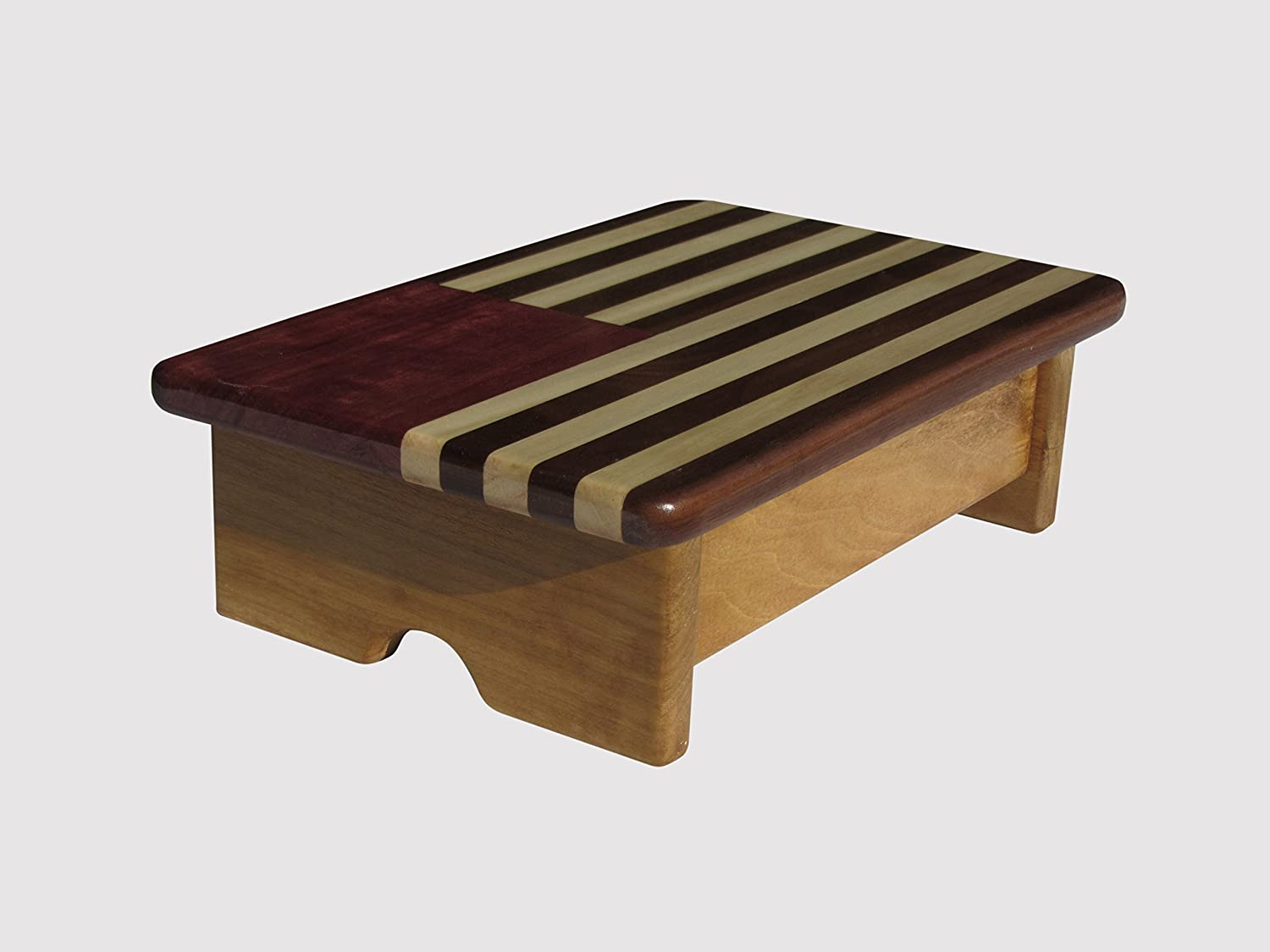Foot Stool Poplar Wood American Flag Design (Made in The USA) (Maple Stain - 4  Tall)