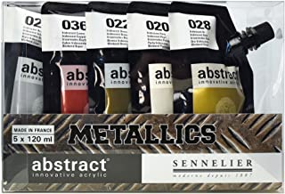 Sennelier Abstract Innovative Heavy Body Acrylic Paint, 120ml Pouch, Metallic Color Set of 5