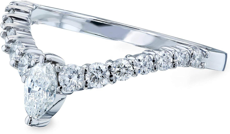 Kobelli Chevron Marquise Point Diamond Ring 14k White Gold