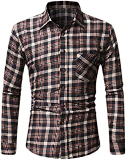 Macondoo Mens Lapel Neck Plaid Vintage Curved Hem Button Down Shirts with Pocket