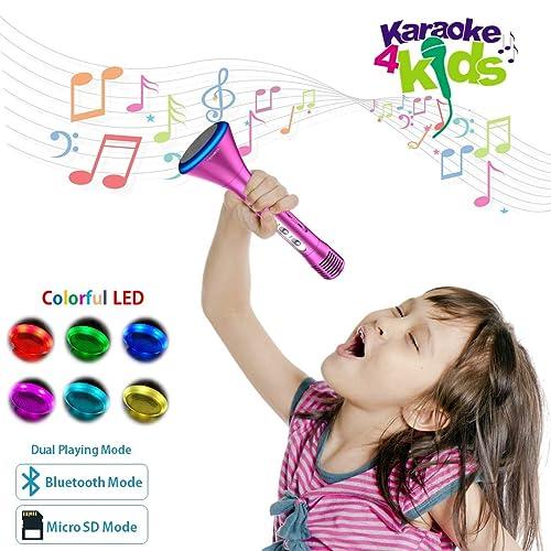 KOMVOX Kids MicrophoneBirthday Gifts For Girls Toddlers Karaoke Machine KidsBluetooth
