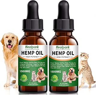 Hemp Oil for Dogs Cats - 2 Pack 1500mg - Separation Anxiety, Joint Pain, Stress Relief, Arthritis, Seizures, Calming Dog T...