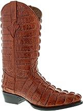El Presidente - Men's Cognac Full Crocodile Tail Print Cowboy Boots J Toe 10.5 E US