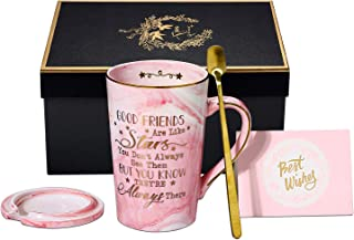 Best Friendship gifts-Good Friends are Like Stars-Birthday Gifts for Women,Her, BFF, Best Friends, Coworkers, Wife, Mom, Daughter, Sister, Aunt 14 Ounce Pink Ceramic Marble Coffee Mug
