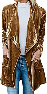 Womens Fashion Open Front Long Sleeve Velvet Lapel Draped Cardigan Pocket Jackets Outerwears