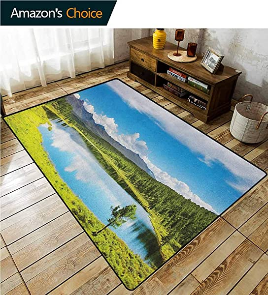 YucouHome Landscape Checkered Anti Static Area Rugs Mountain Landscape With Forest And Lake In Sunny Cloudy Sky Summer Nature Fashionable High Class Living Bedroom Rugs 2 X 6 Green Blue White