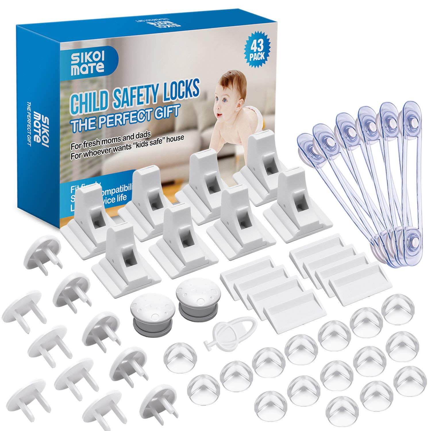 Baby Proofing OFFer 43 Pcs Cabinet Locks Safety- 8 In stock Child Magnetic Cab