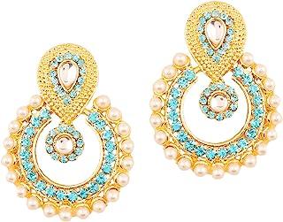 Touchstone Indian Bollywood Chandbali Moon Kundan polki Rhinestones Long Bridal Designer Jewelry Chandelier Earrings for W...