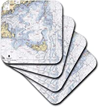 3dRose CST_204887_2 Print of Nautical Chart of Nantucket Island Soft Coaster (Set of 8)