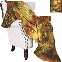 MKOK Fantasy Rugged or Durable Camping Blanket Abstract Pathway in Autumn Forest with Shady Leaf of Deciduous Trees View Art Warm and Washable W70 x L70 Inch Orange Yellow