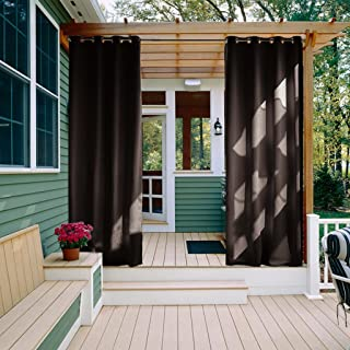 NICETOWN Outdoor Patio Curtains Drapes - Grommet Top Blackout Curtain/Drape for Outdoors (1 Panel,52 inches Wide by 84 inches Long, Toffee Brown)