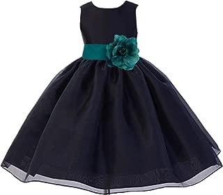 ekidsbridal Black Satin Bodice Organza Skirt Formal Flower Girl Dresses Pageant Gown 841S