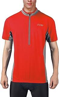 bpbtti Men's Cycling Jersey Short Sleeve MTB Bike Biking Shirts with Half Front Zipper & 3-Rear Pockets