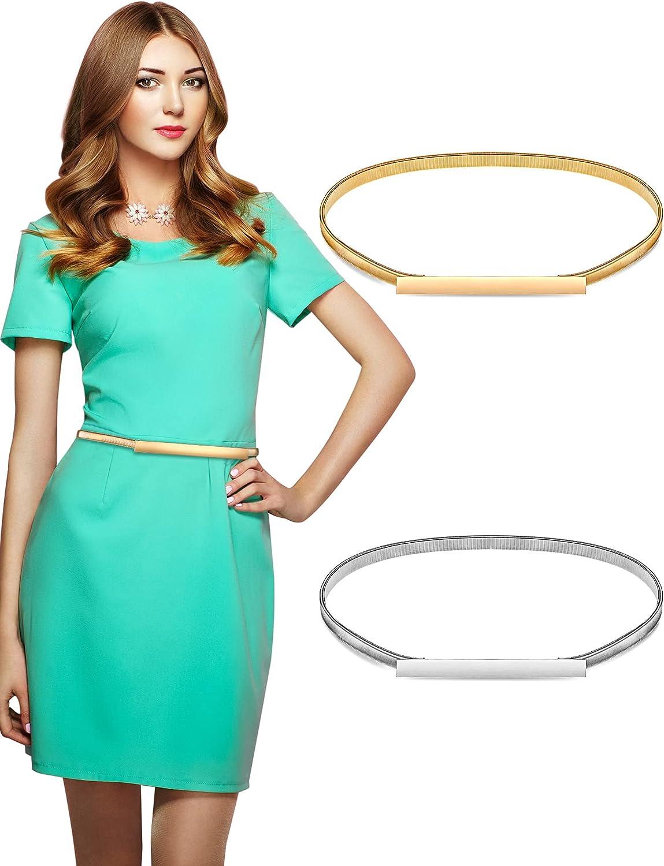 Henreal 2 Pieces Women Skinny Metal Waist Belt Silver Cinch Sale supreme Gold