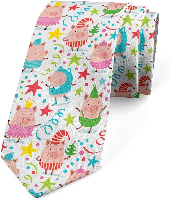 Ambesonne Men's Tie, Piglets Stars Dots, Necktie, 3.7