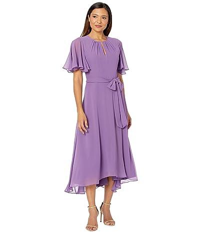 Tahari by ASL Solid Chiffon Midi Dress w/ Flutter Sleeve and Self Side Tie (Grape) Women
