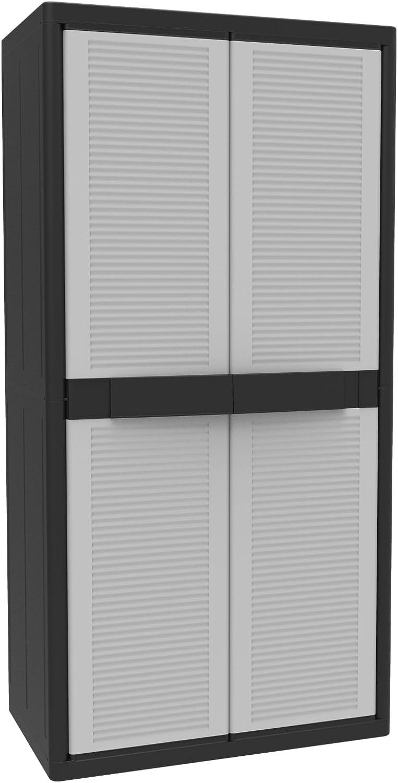 Terry Jumbo 2900Qschwarz Hochschrank aus Kunststoff, XL, Besenschrank, grau, 89,7x 53,7x 180cm