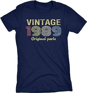 30th Birthday Gift Womens T-Shirt - Retro Birthday - Vintage 1989 Original Parts