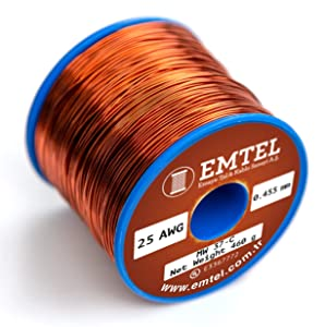 Emtel 16 AWG - 1 lb (460 gr) Copper Magnet Wire - Enameled Wire for Motor, Transformer, Speaker, Magnetic Coil, Winding Wire - Up to 220°C (428°F) - Double (Heavy) Build Insulation - Spool