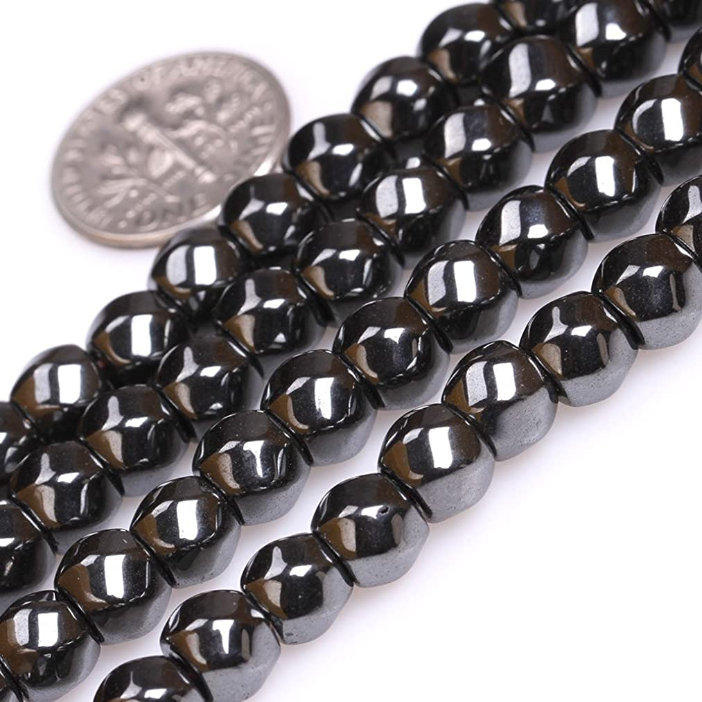 GEM-Inside Twisted Column Hematite Gemstone Loose Beads Natural 6x7mm Energy Stone Power for Jewelry Making 15''