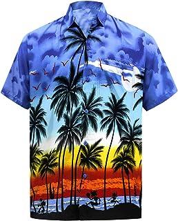 LA LEELA   Funky Camicia Hawaiana da Uomo   XS - 7XL   Maniche Corte   Tasca Frontale   Stampa Hawaiana   Estivo Estate Sp...