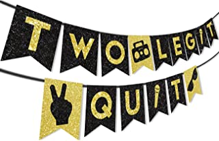 Two Legit to Quit Banner for 2nd Birthday Party Decorations and Supplies or Baby Shower