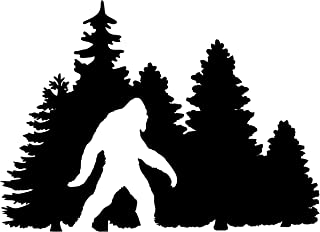 Minglewood Trading White - Bigfoot in Treeline Vinyl Sticker - Yeti Trees Forest Camping Pine Forest Sasquatch - 7w x 5h inches - Die Cut Decal