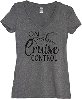 On Cruise Control Womens Funny Boating Family Cruise V Neck T Shirt