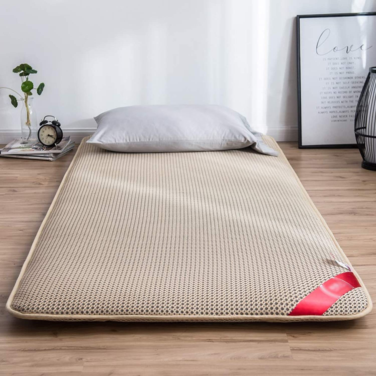 Summer Sleeping mat,3D mesh Breathable Tatami Mattress Soft Floor mat Non-Slip Mattress Topper,Not stuffy (color   Khaki, Size   1.2 x 2.0 m (4 ft))