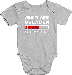 MoonWorks lustiger Baby-Body Windel Wird beladen Bio-Baumwolle Kurzarm Aufdruck