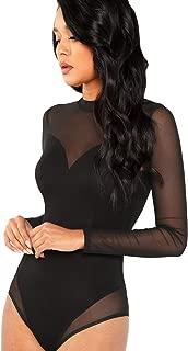 Best black mesh long sleeve bodysuit Reviews