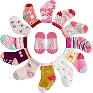 MAYBOX 12 Pairs Assorted Non-Skid Ankle Cotton Socks Baby Girl Socks, Toddlers Crew Baby Socks with Grip