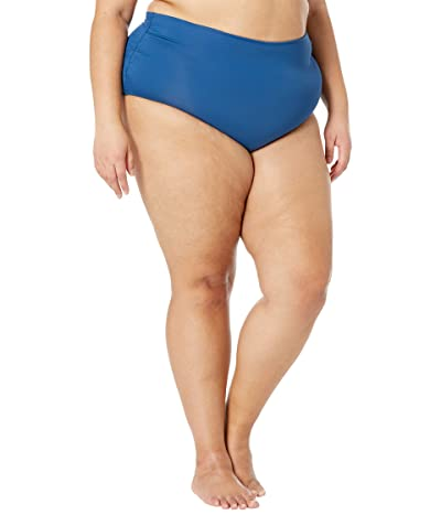 Anne Cole Plus Size Convertible Shirred High-Low Bottoms (Tide Blue) Women