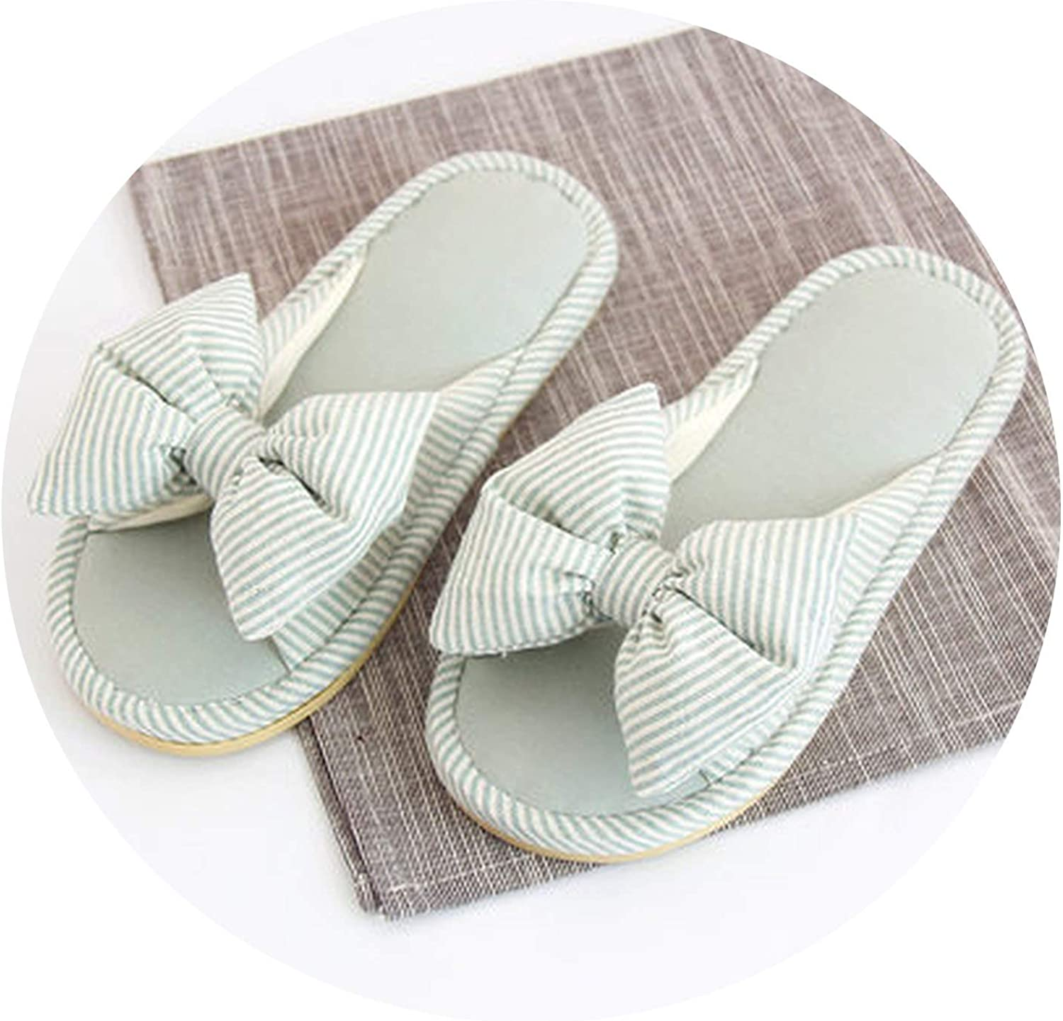 PilotageAuto Home Slippers Spring Autumn Butterfly-Knot Indoor shoes Cotton Fabric Striped Women Slippers
