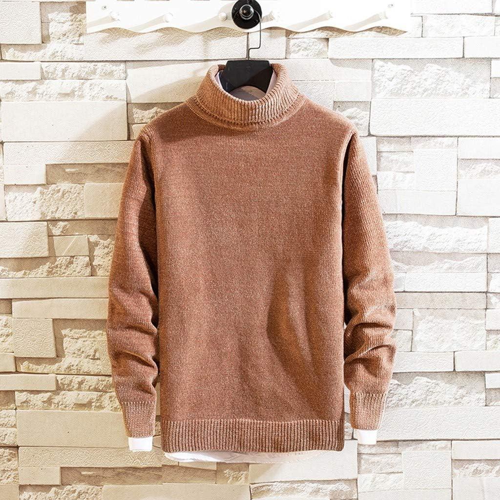 Men's Pullover Sweater Long Sleeve Turtleneck Warm Winter Knitwear Outwear Top
