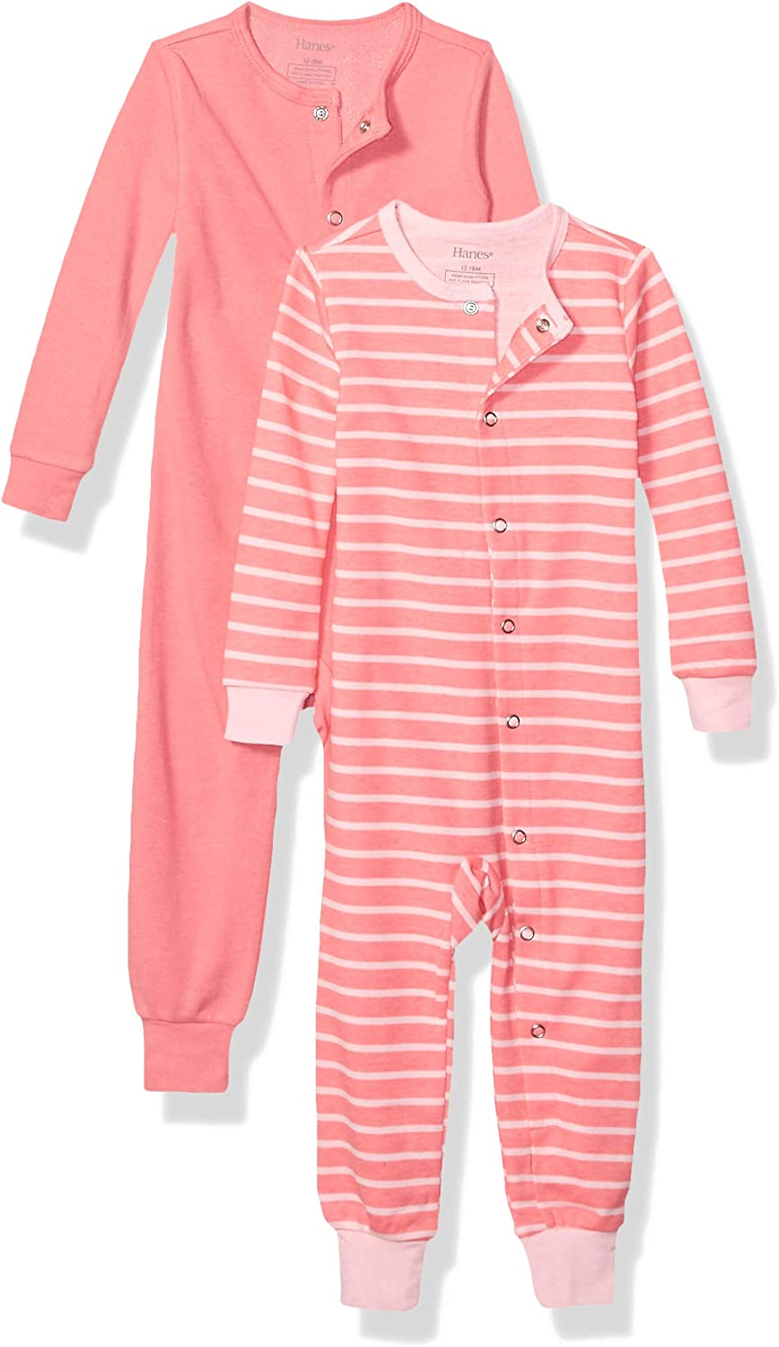 Hanes Ultimate Baby Zippin 2 Pack Sleep and Play Suits 18-24 Months Grey//Pink Stripe
