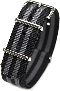 ショートバージョン NATOタイプ ナイロン ストラップ 20mm JB【黒&グレー】 時計ベルト バンド [クロノワールド chronoworld] [簡単キット付]