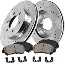 AutoShack SCDPR63846384820 Pair of 2 Front Driver and Passenger Side Drilled and Slotted Disc Brake Kit Rotors and Ceramic Pads Replacement for 2000 2001 2002 Dodge Dakota Durango