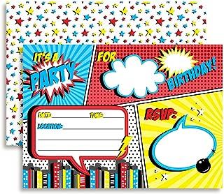 Super Hero Comic Book Birthday Party Invitations for Boys, 20 5
