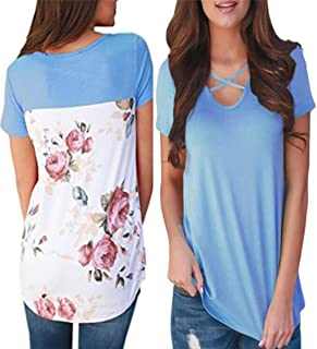 YLOVE Women's Casual Floral Print Back Short Sleeve Criss Cross V Neck Blouse Tops