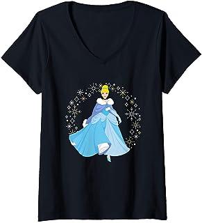 Femme Disney Princess Cinderella Winter Snowflakes Holiday T-Shirt avec Col en V