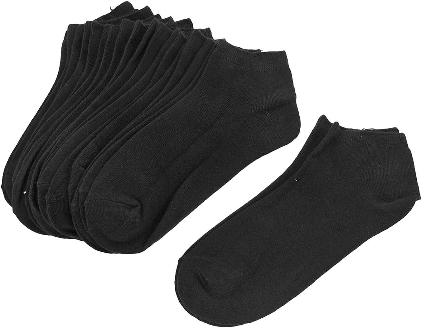 Allegra K 10 Pairs Lady Short Low Cut Sports Elastic Socks Black