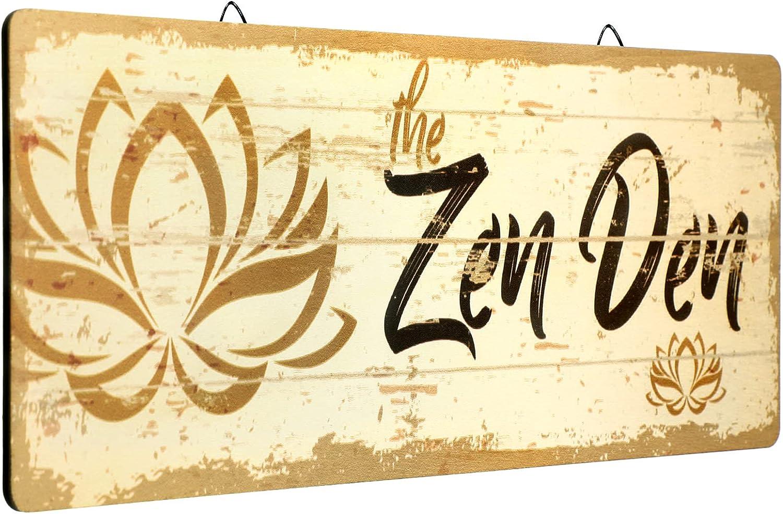 The Zen Den Lotus Wood Sign 15.75 x 5.9 Inch Lotus Yoga Sign Wooden Hanging Wall Sign with Hooks Meditation Home Decor for Yoga Studio Bathroom Bedroom Spiritual Room Decoration
