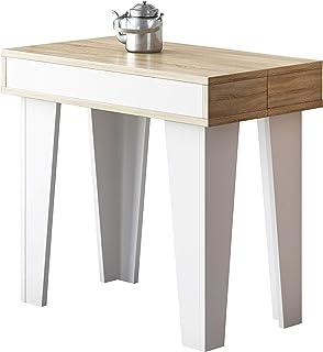 Skraut Home - Table Console Extensible, rectangulaire avec rallonges, Nordic KL jusqu'à 140 cm, Style Scandinave pour Sall...