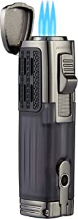 TOMOLO Torch Lighter Triple Jet Flame Refillable Butane Cigar Lighter (2 Packs) with Cigar Punch
